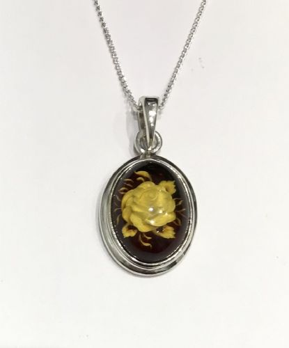 Sterling Silver Cameo Rose Oval Amber Necklace